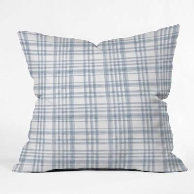 16 x16 little arrow design co winter watercolor plaid throw pillow blue deny designs
