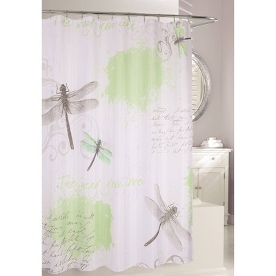 dragonfly shower curtain green gray moda at home