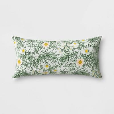 oversize spring floral outdoor lumbar throw pillow duraseason fabric green opalhouse