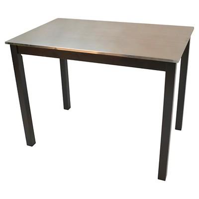 cooper stainless steel top bar table wood black carolina cottage