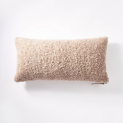 oversized boucle lumbar throw pillow with exposed zipper taupe threshold designed with studio mcgee