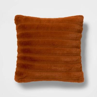 square channeled faux fur throw pillow bronze project 62 nate berkus