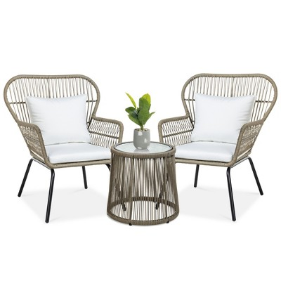 best choice products 3 piece patio conversation bistro set outdoor wicker w 2 chairs cushions side table tan