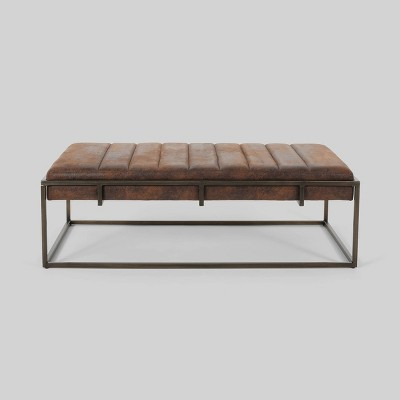 magdalene modern fabric ottoman bench brown christopher knight home