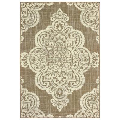 5 3 x7 6 madeline overscale medallion patio rug tan ivory