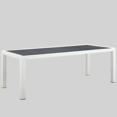 stance 90 5 rectangle aluminum patio dining table gray modway