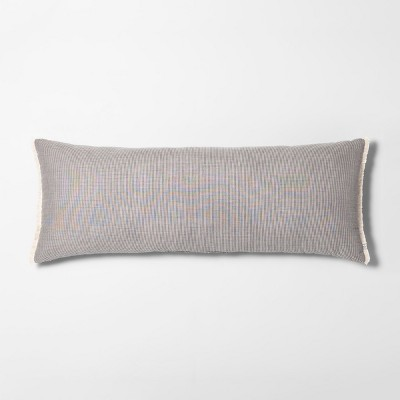 oversized microstripe double weave lumbar throw pillow black hearth hand with magnolia