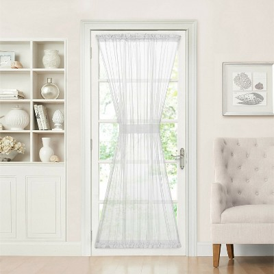 goodgram batiste sheer french door curtain panel with tieback 56 in w x 45 in l white