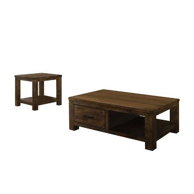 2pc geary coffee and end table set antique oak homes inside out