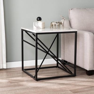 arendale faux marble end table matte black aiden lane