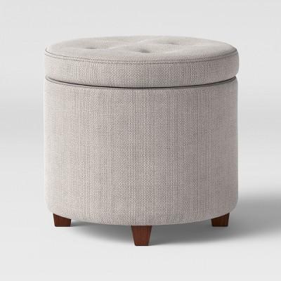 round tufted storage ottoman textured weave gray threshold
