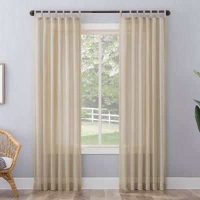 96 x50 ceri linen textured jute tabs semi sheer curtain panel off white no 918
