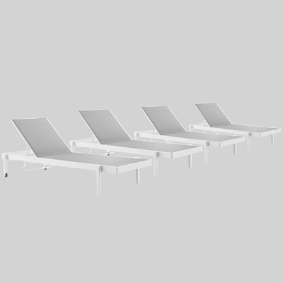 4pc charleston outdoor patio aluminum chaise lounge chair white gray modwa