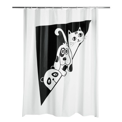 glow in the dark peek a boo peva shower curtain black white allure home creations