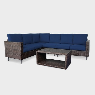 draper 5pc wicker patio sectional set navy leisure made