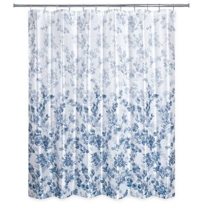 ombre vine floral shower curtain navy allure home creation