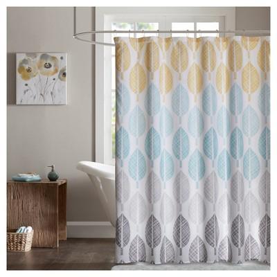 prospect park printed shower curtain aqua yellow