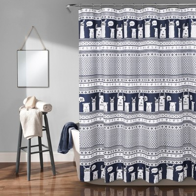 72 x72 llama striped shower curtain navy lush decor