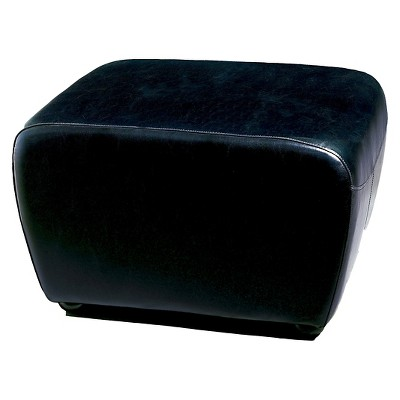 full leather ottoman with rounded sides black baxton studio