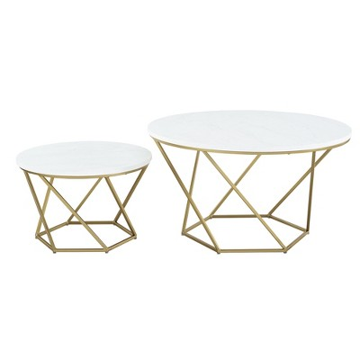 geometric nesting coffee tables white marble gold saracina home