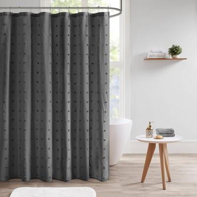 kay cotton pom pom shower curtain dark gray