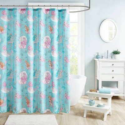 72 x72 livia printed mermaid shower curtain aqua pink