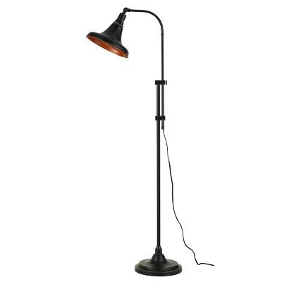 47 58 adjustable height metal taranto floor lamp with shade dark bronze cal lighting