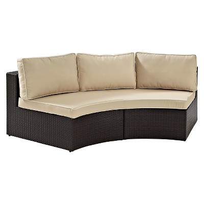 catalina outdoor wicker round sectional sofa sand crosley