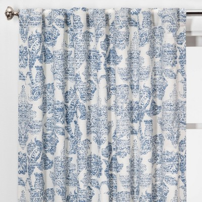 95 x54 charade floral light filtering curtain panel blue threshold
