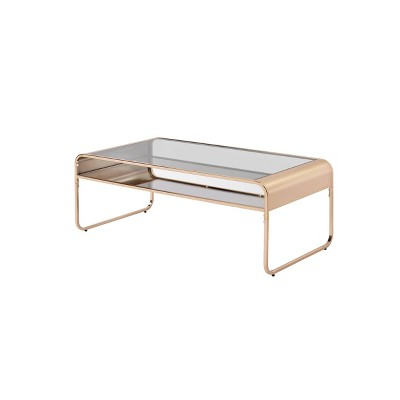 milrix coffee table with glass top gold mibasics