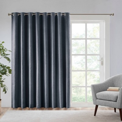 84 x100 rune heathered blackout extra wide curtain panel navy