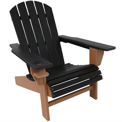 sunnydaze plastic all weather heavy duty outdoor adirondack patio chair with drink holder black and brown