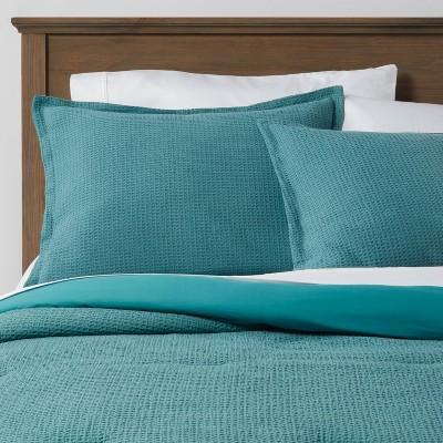 twin extra long washed waffle weave comforter sham set teal threshold