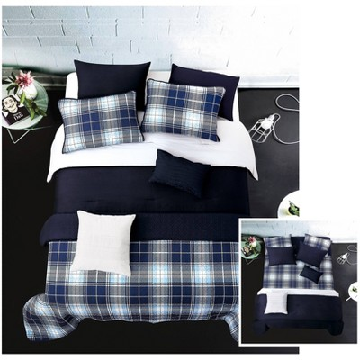 riverbrook home twin plaid 6pc layered comforter coverlet set gray navy
