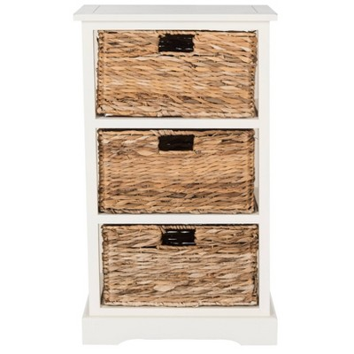 halle side table with wicker baskets distressed white safavieh