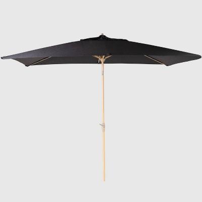 10 x 6 rectangular patio umbrella duraseason fabric black light wood pole threshold
