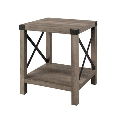 18 rustic farmhouse metal x frame side table with wood and metal gray wash saracina home