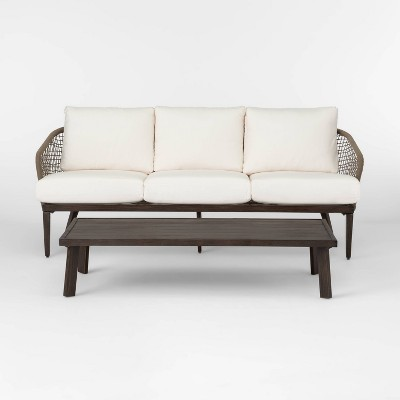risley oversized rope patio sofa and coffee table set linen project 62