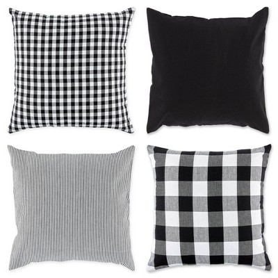 4pk 18 x18 assorted square throw pillow covers black white design imports