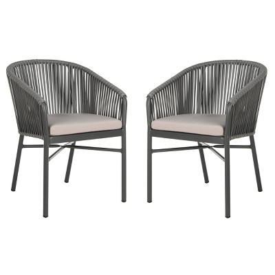matteo stackable patio rope chair gray safavieh