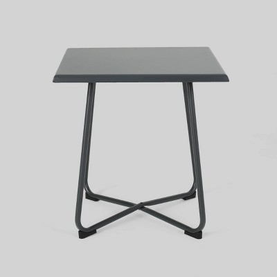 alder steel modern patio side table gray christopher knight home
