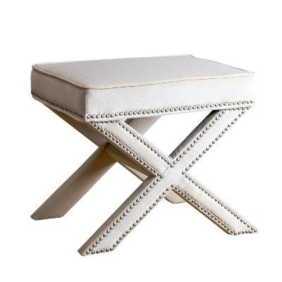 evelyn upholstered nailhead trim ottoman bench cream abbyson living