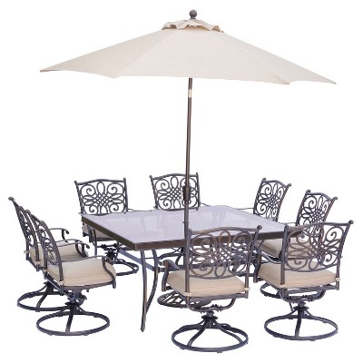 traditions 11pc square metal patio