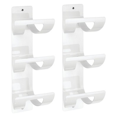 mdesign plastic 3 level bathroom wall mount towel rack holder 2 pack white
