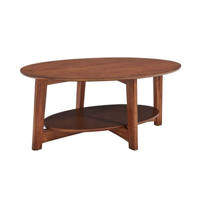 monterey oval mid century modern wood coffee table chestnut alaterre furniture