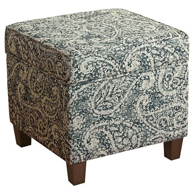 cole classics square storage ottoman wood leg blue gray paisley homepop