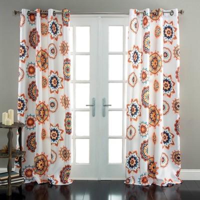84 x52 adrianne curtain panels room darkening white orange triangle home fashions