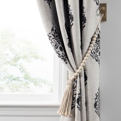 nomad decorative wooden fringe tassel window curtain tieback 25 white wash elrene home fashions
