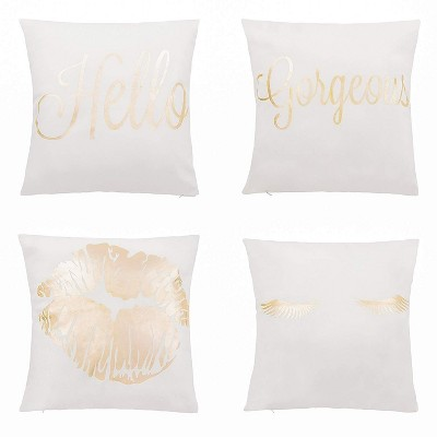 juvale throw pillow covers 4 pack decorative couch throw pillow cases for girls and woman white covers with rose gold foil lettering print 17x17