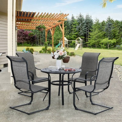 5pc patio dining set with round table steel c spring chairs captiva designs